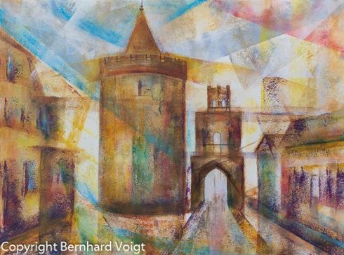 Pulverturm und Stadttor (Berliner Tor) in 15749 Mittenwalde/Mark, Acryl auf 400g Montval Acryl-Papier Feinkorn, 36 x 48 cm