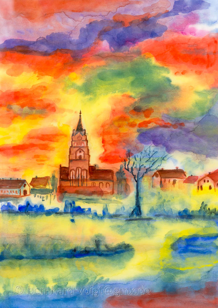 Blick auf Mittenwalde in der Mark im Herbst I, 15479 Mittenwalde, Abstract, abstrakt, aquarell, contemporary art, Expressionism, Expressionismus, japanese paper, Japanpapier, Landscape, Landschaft, loose style, Mittenwalde, Mittenwalde Mark, Sankt Moritz Kirche, St Moritz Kirche, Washi, watercolor, watercolour, zeitgenoessisch