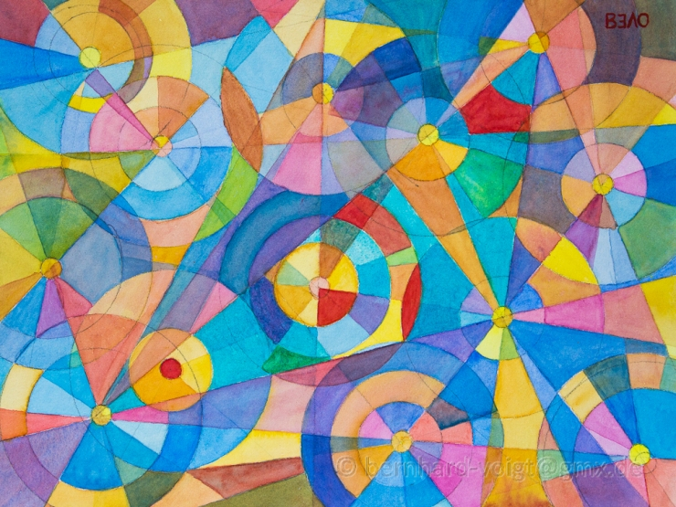 Farbkreise und Segmente - Colour Wheels and Segments, water color glazing inspired by Robert Delaunay