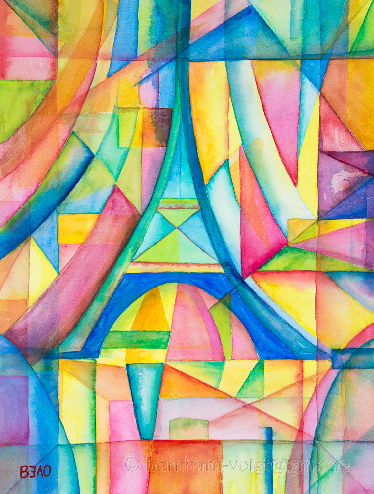 water color glazing inspired by Robert Delaunay