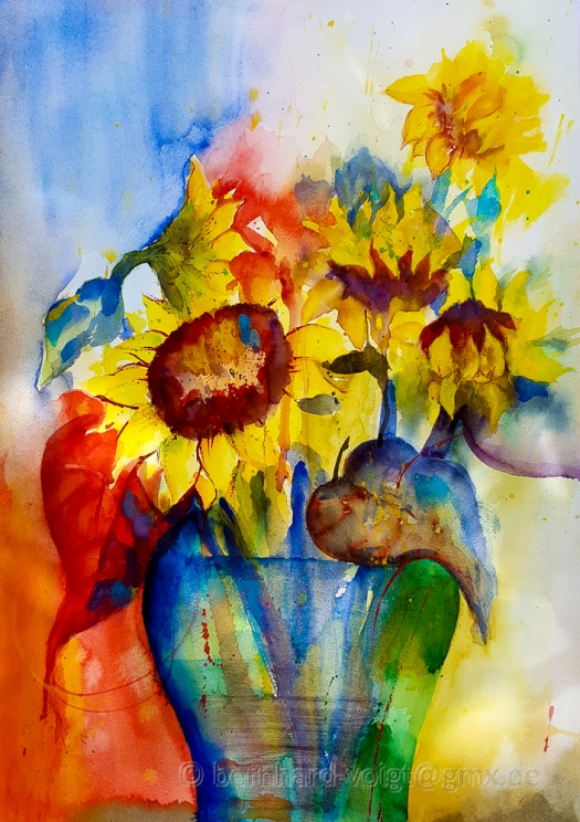 abstrakt, aquarell, Baumwolle, Blumen, cold pressed, contemporary art, Cotton, extra white, Fabriano Artistico, flowers, Hadern, Helianthus, loose style, modern art, Samsung Galaxy S6, Sommerblumen, Sonnenblumen, summer flowers, Sunflowers, watercolor, zeitgenoessisch
