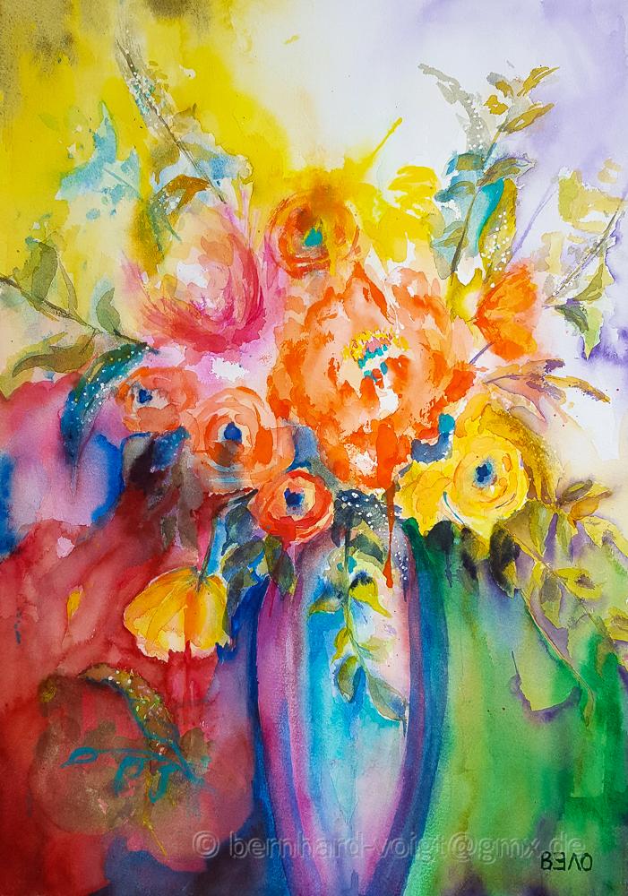 Sommerblumenstrauß in Vase - Bouquet of summer flowers in vase