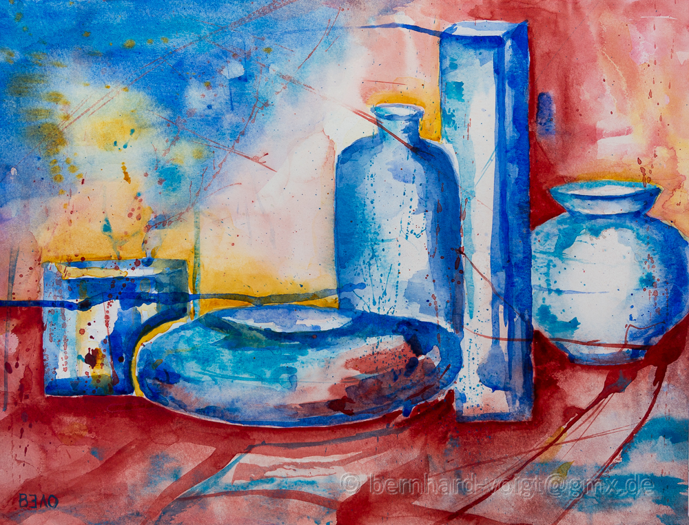Kobaltblau I, Aquarell Stillleben - Cobalt Blue I, watersolour still life