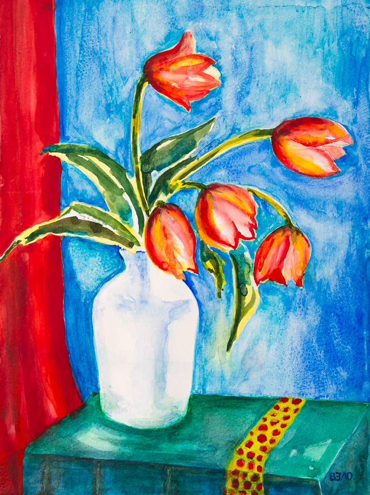 Rot-Gelbe Tulpen im Frühjahr 2019 IV - Red-Yellow Tulips in Spring 2019, 15.7in x 11.8in, 140lb
