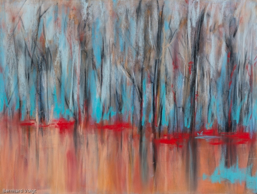 Bäume II - Trees II, Pastell auf PASTELMAT® 24cm x 32cm - Pastel on PASTELMAT® 9,4in x 12,6in