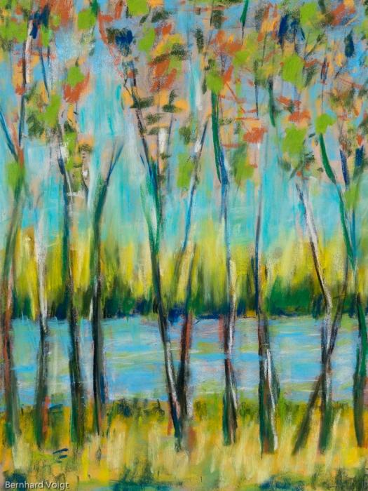 Bäume IV - Trees IV, Pastell auf PASTELMAT® 32cm x 24cm - Pastel on PASTELMAT®, 12,6in x 9,4in