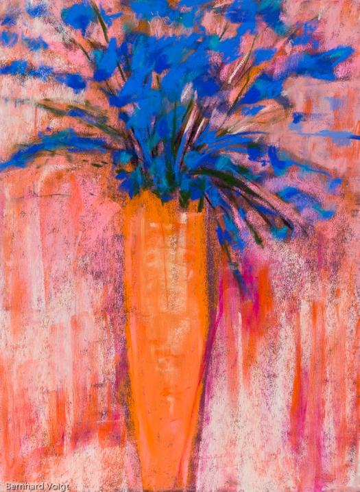 Blumen in Vase I - Flowers in vase, Pastell auf PASTELMAT® 32cm x 24cm - Pastel on PASTELMAT®, 12,6in x 9,4in