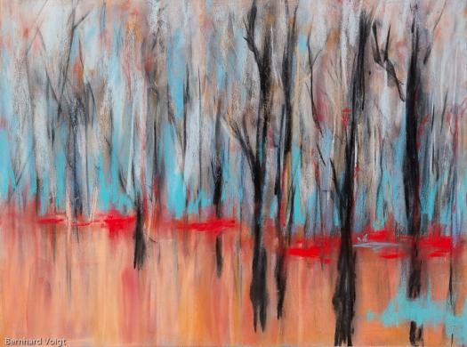 Bäume III - Trees III, Pastell auf PASTELMAT® 24cm x 32cm - Pastel on PASTELMAT®, 9,6in x 12,6in
