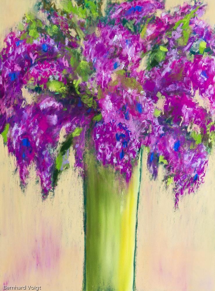 Flieder in grüner Vase - Lilacs in green vase, Pastell Blumenstillleben 40cm x 30cm
