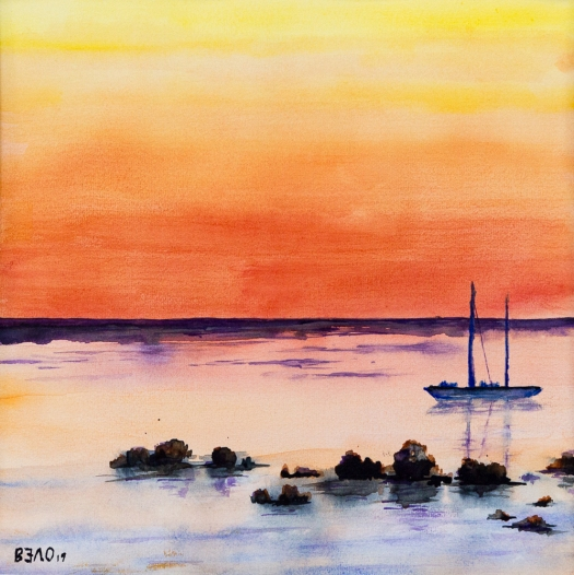 Roter Himmel über dem Meer - Red sky over the ocean - Aquarell 30 cm x 30 cm