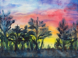 Frühsommerabend - Early Summer Evening - Aquarell, 31cm x 41 cm