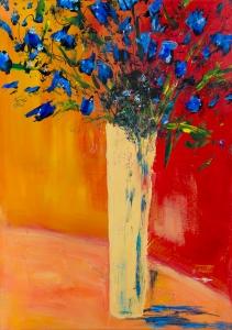Blaues Blumenbouquet I - Blue Flower Bouquet I, Acryl auf Keilrahmen 70cm x 50cm