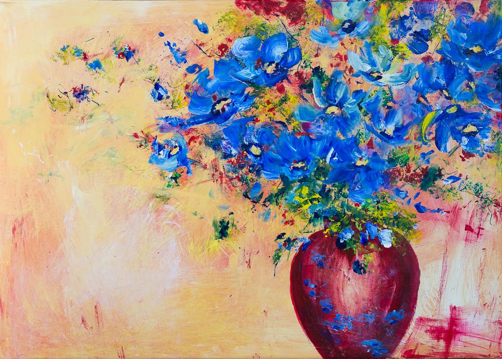 Blaues Blumenbouquet in karmesinroter Vase - Blue Flower Bouquet in Crimson Red Vase, Acryl auf Keilrahmen 50cm x 70cm