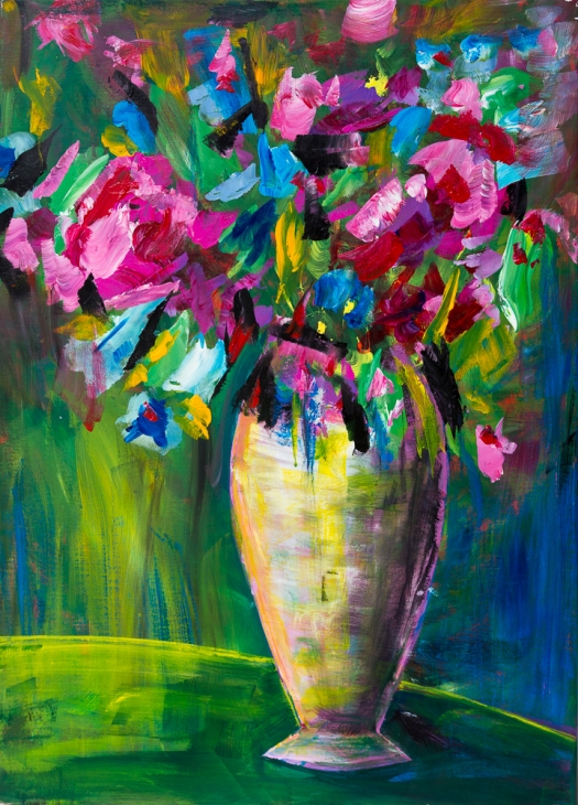 Blumenbouquet in gelblicher Vase - Flower Bouquet in Yellowish Vase, Acryl 70cm x 50 cm