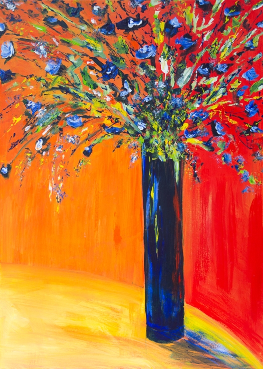 Blaues Blumenbouquet II - Blue Flower Bouquet II, Acryl auf Leinwand - 70cm x 50cm