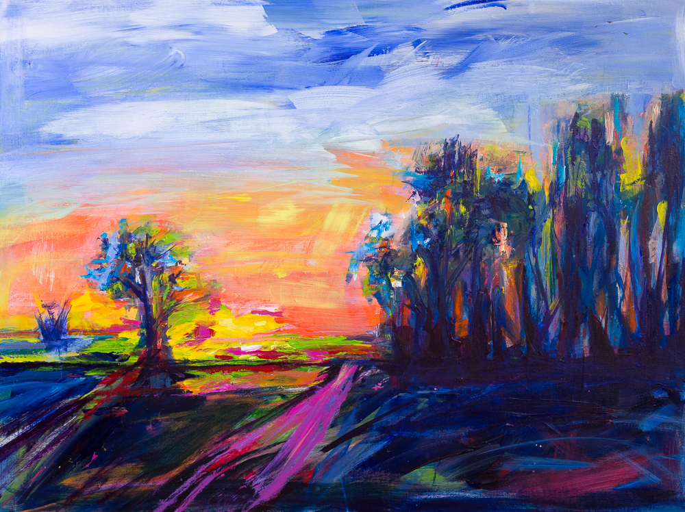 Brandenburger Abendglühen - Brandenburger Evening Glow, Acryl, 60cm x 80cm