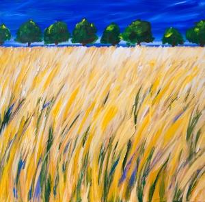 Märkisches Getreidefeld vor einer Allee - Grain field in Mark Brandenburg in front of the treeline