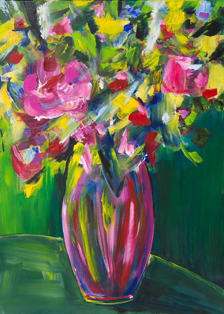 Blumenbouquet I, Acryl auf Canvas-Baumwolle, 70cm x 50cm