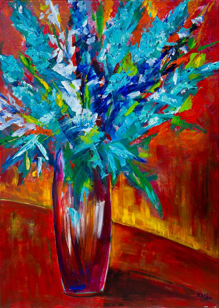Rittersporn Bouquet in roter Vase - Delphinium Bouquet in Red Vase, Acryl auf Leinwand 70cm x 50cm
