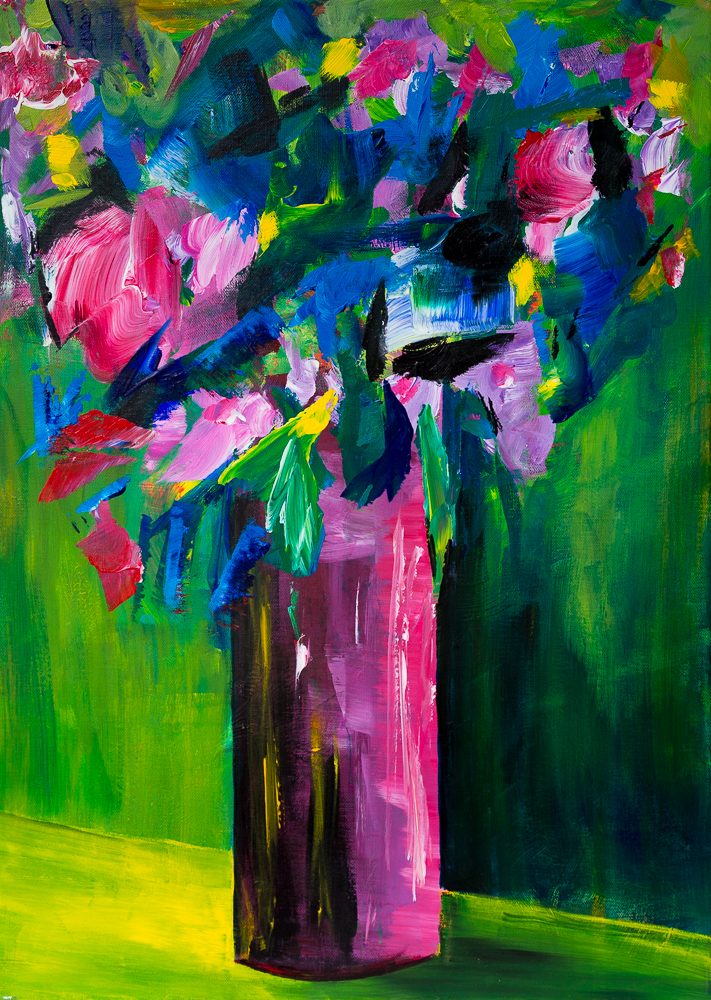 Blumenbouquet in violetter Vase - Flower Bouquet in Violet Vase, Acryl on canvas, 70cm x 50cm