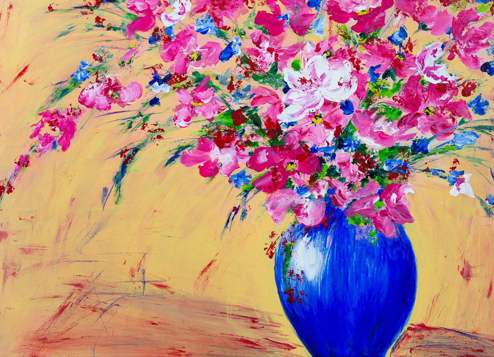 Rosa Blumenbouquet in ultramarinblauer Vase - Pink Flower Bouquet in Ultramarin Blue Vase, Acrylics on canvas, 50cm x70cm