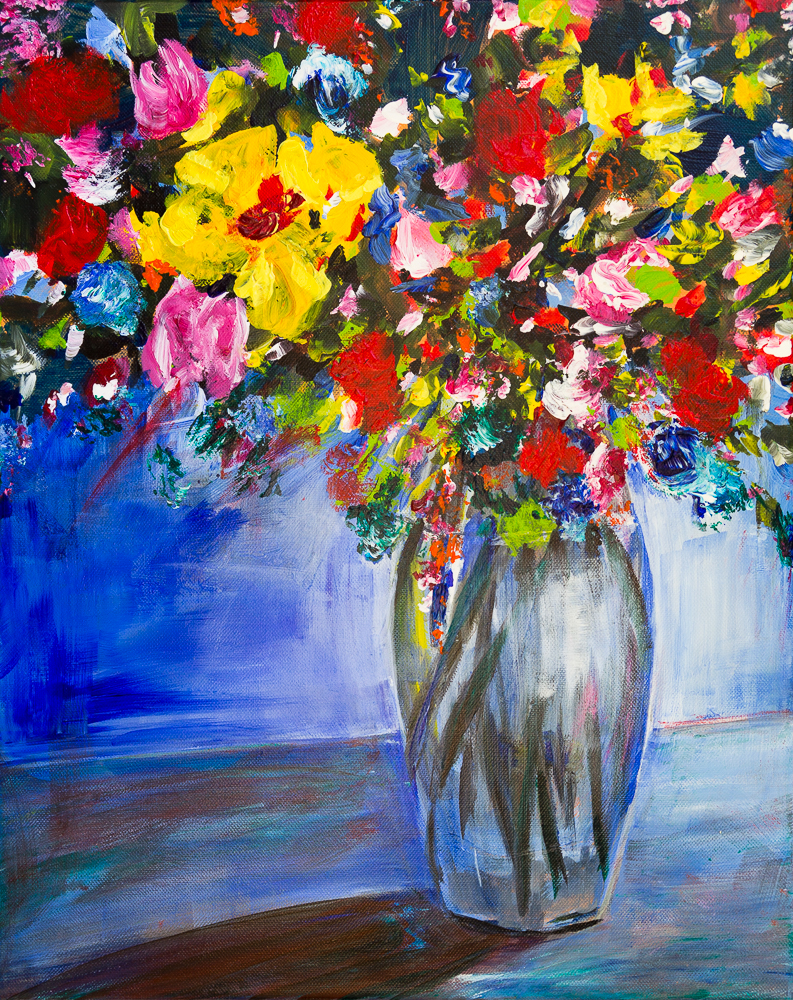 Blumen in Glasvase vor blauem Hintergrund II - Flowers in glass vase in front of blue background II - Acryl, 50cm x 40cm