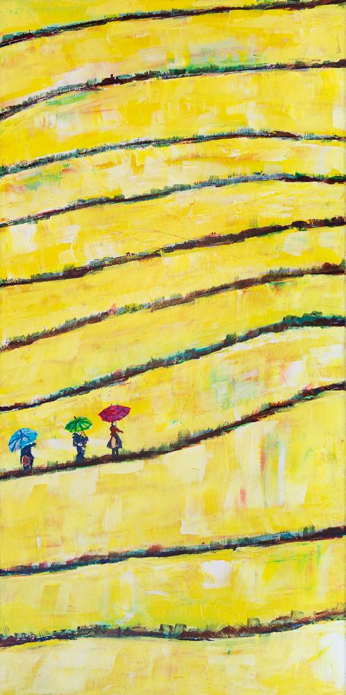Drei Damen in vietnamesischem Reisfeld