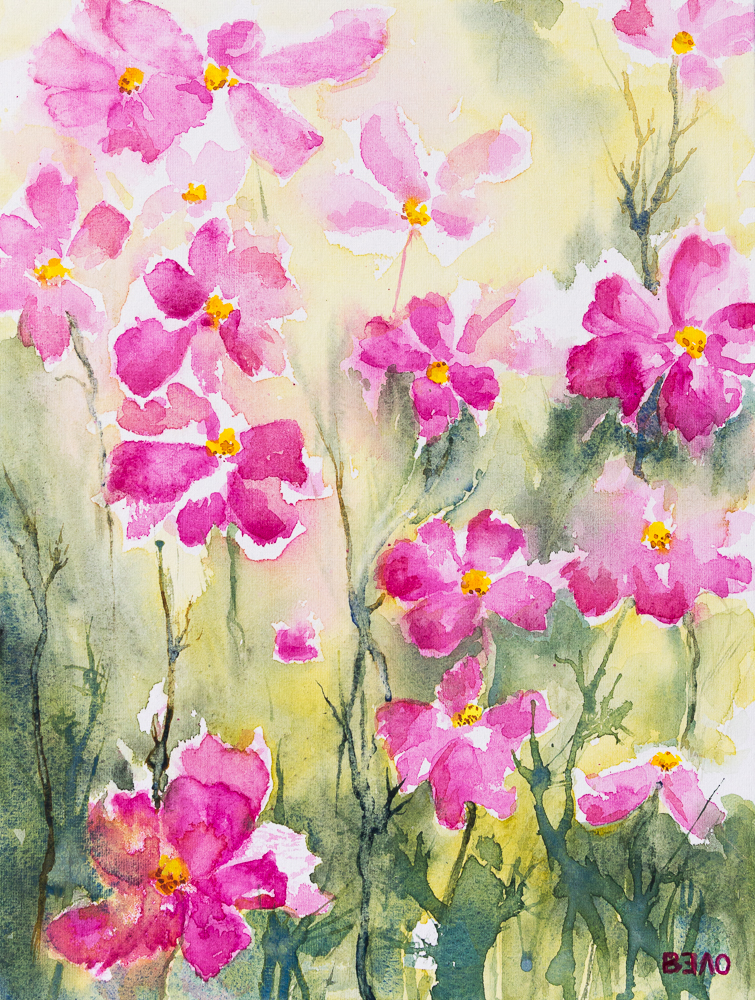 Kosmeen zum Ausklang des Sommers - Garden Cosmos at the end of summer, Aquarell, 40cm x 30cm