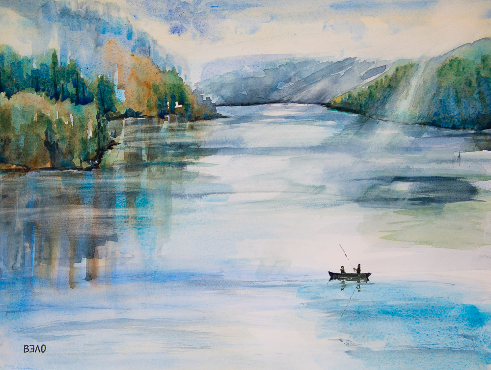 Angelfreunde am herbstlichen Gebirgssee - Fishing friends at the autumnal mountain lake, Aquarell, 30cm x 40 cm
