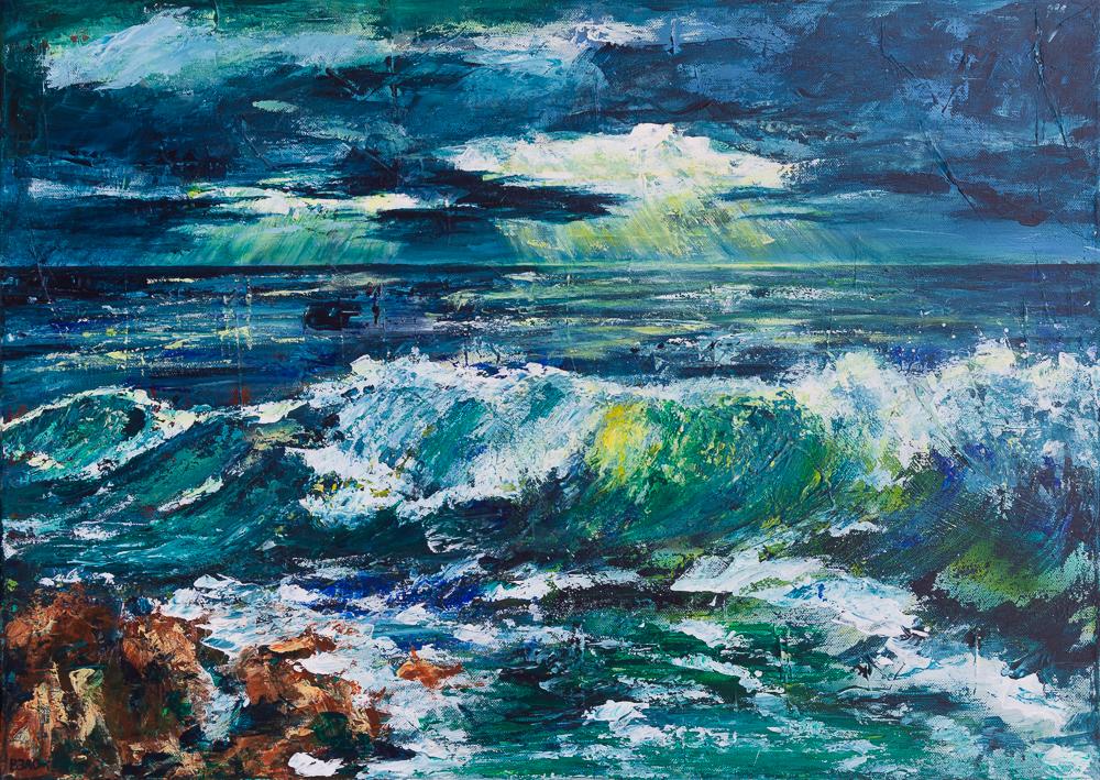 Stürmische Ostsee bei schwerem Himmel - Stormy Baltic Sea in a heavy sky - Acryl, 50cm x 70cm