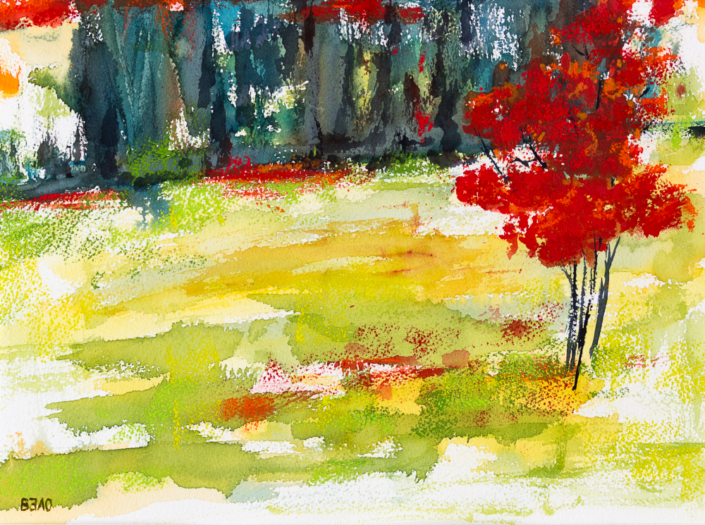 Spätherbst in Brandenburg II - Late Autumn in Brandenburg II, Aquarell mit Softpastell gehöht, 30cm x 40cm