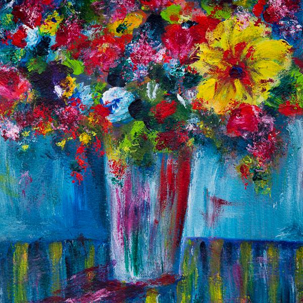 Blumenstillleben, Impressionen auf Blau III, Acryl 25cm x 25cm