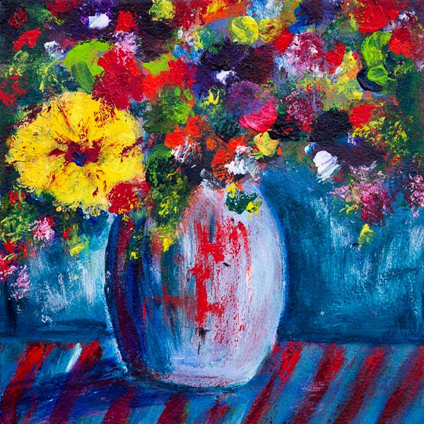 Blumenstillleben, Impressionen auf Blau I, Acryl 25cm x 25cm