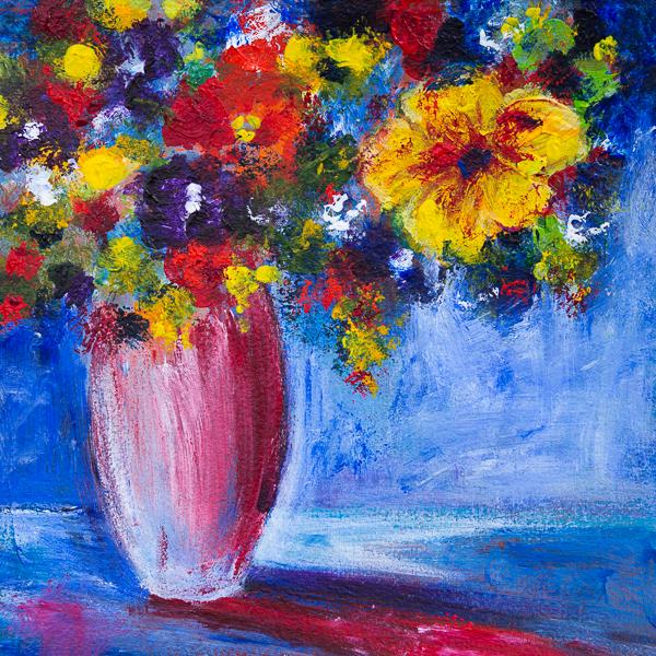 Blumenstillleben, Impressionen auf Blau II, Acryl 25cm x 25cm