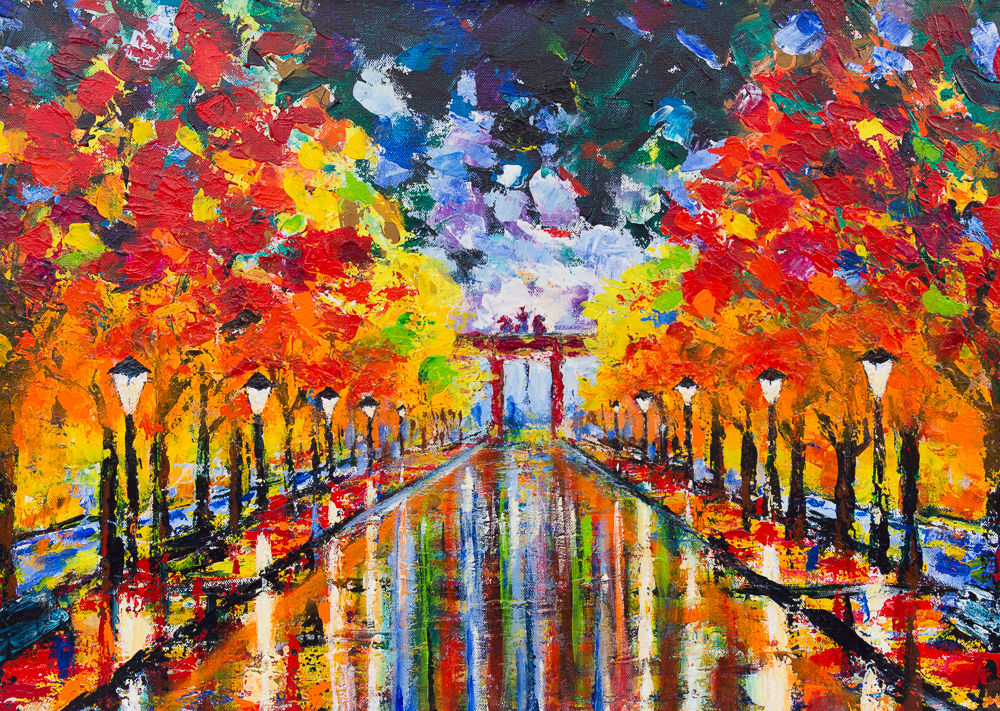 Unter den Linden mit Blick auf das Brandenburger Tor - Acryl auf Canvas-Baumwolle [380g/m²] auf Holz-Keilrahmen, 50cm x 70cm