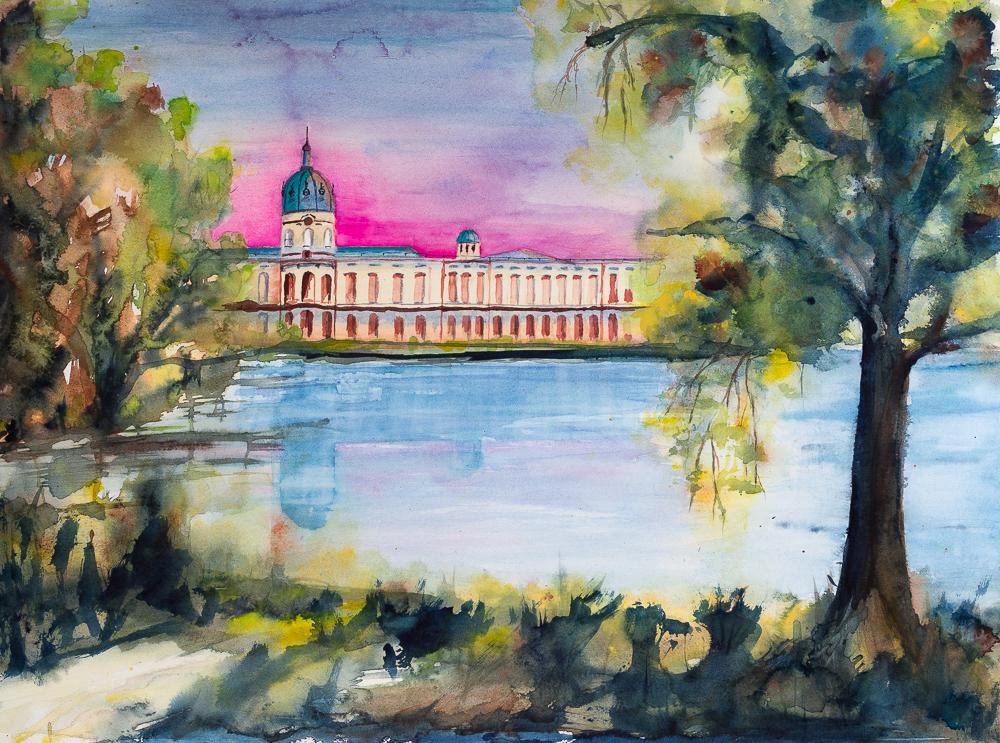 BerlinBlick IV - Schloss Charlottenburg, Variante I - Aquarell, 56cm x 76cm