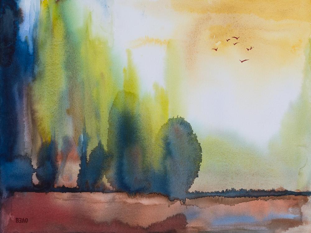 Impressionen aus der Mark Brandenburg - Stille - Aquarell, 31cm x 41cm
