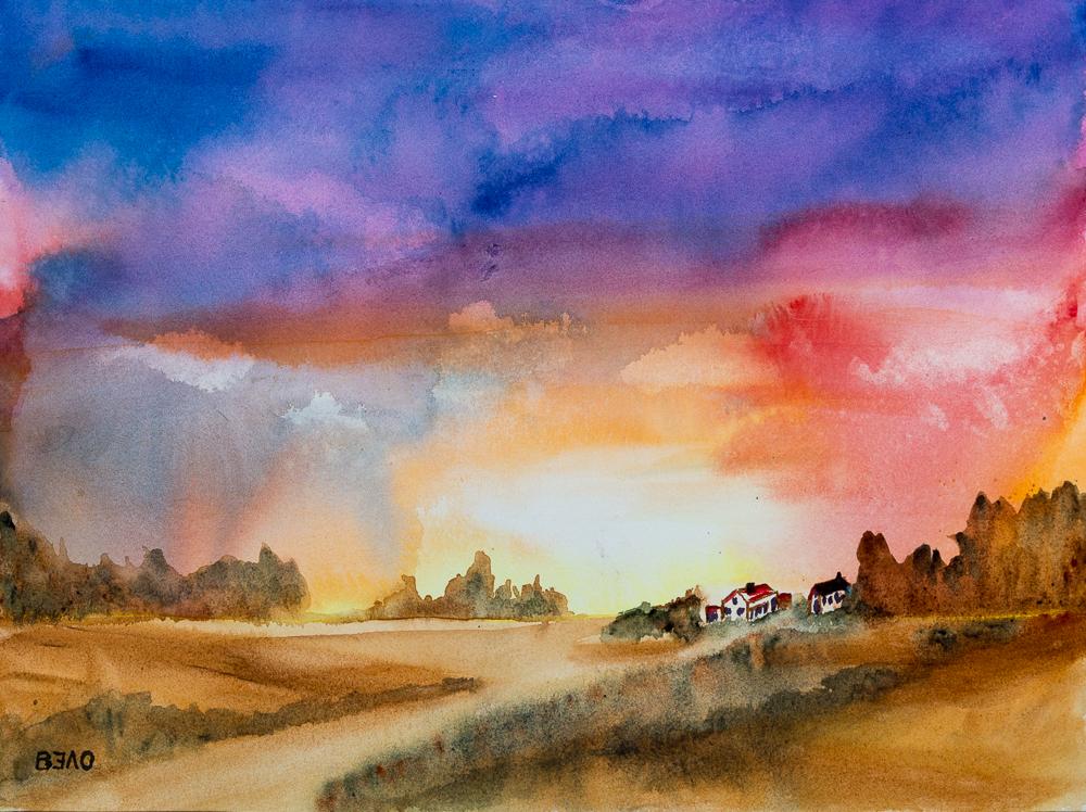 Impressionen aus der Mark Brandenburg - Sonnenuntergang, Aquarell, 31cm x 41cm