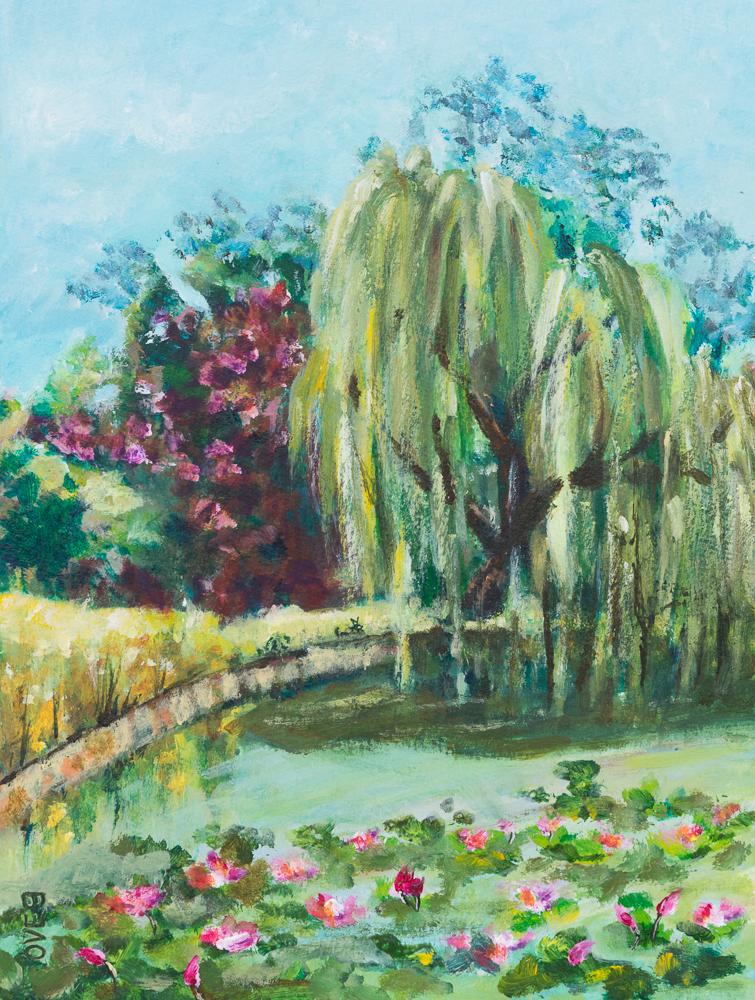 Frühlingsmoment im Stadtpark Steglitz, Acryl auf Mixed Media Papier, 32x24cm